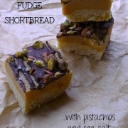Chocolate Fudge Shortbread with Pistachios and Sea Salt