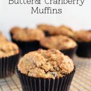Banana, Peanut Butter & Cranberry Muffins